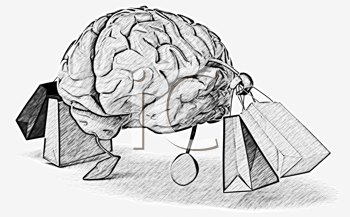 Royalty Free Clipart Image of a Shopping Brain