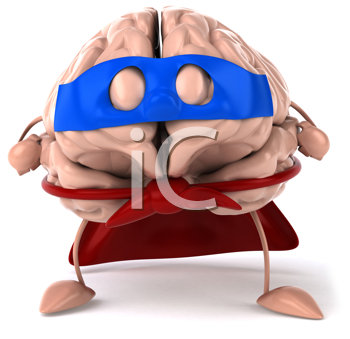 Royalty Free Clipart Image of a Superhero Brain