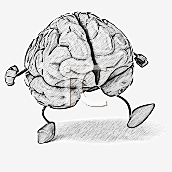Royalty Free Clipart Image of a Walking Brain
