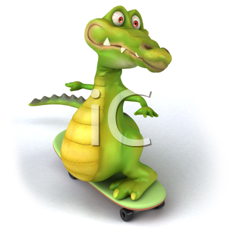 Royalty Free Clipart Image of an Alligator on a Skateboard