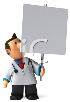 Royalty Free Clipart Image of a Doctor With a Placard