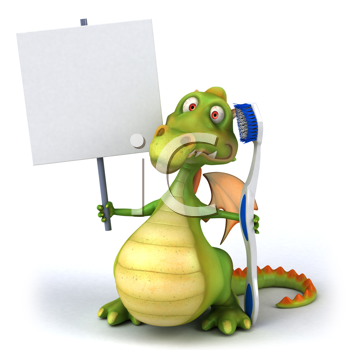 Royalty Free Clipart Image of a Dragon With a Sign and a Toothbrush