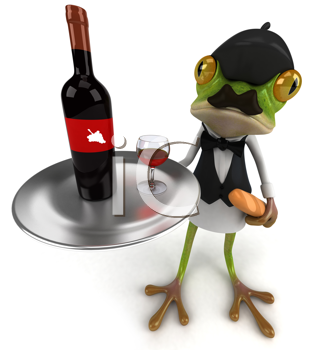 Royalty Free Clipart Image of a Frog Waiter