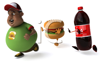 Royalty Free Clipart Image of Fast Food Chasing an Overweight Man