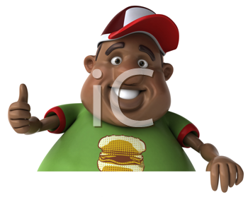 Royalty Free Clipart Image of an Overweight Black Man Giving a Thumbs Up