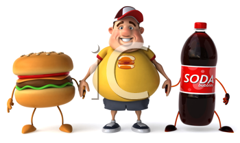 Royalty Free Clipart Image of a Man Holding Hands With a Burger and Pop