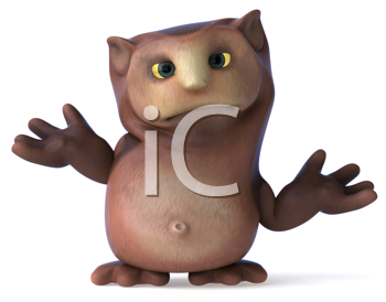 Royalty Free Clipart Image of a Shrugging Owl