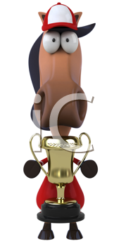 Royalty Free Clipart Image of a Horse Jockey With a Trophy