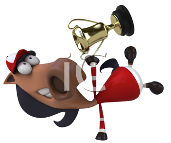 Royalty Free Clipart Image of a Horse With a Cup