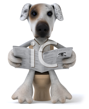 Royalty Free Clipart Image of a Dog on the Toilet Reading a Newspaper