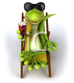 Royalty Free Clipart Image of a Lizard With a Beer