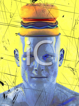 Royalty Free Clipart Image of a Man With a Burger on His Mind