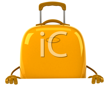 Royalty Free Clipart Image of a Yellow Suitcase