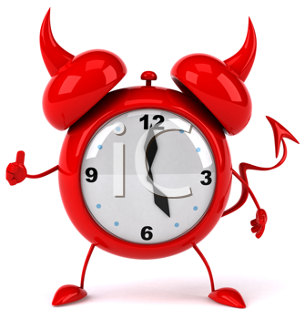 Royalty Free Clipart Image of an Alarm Clock Giving a Thumbs Up