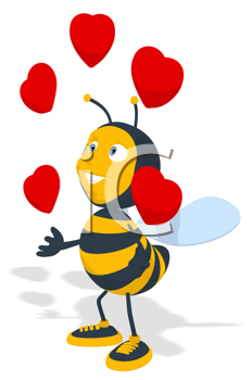 Royalty Free Clipart Image of a Bee Juggling Hearts