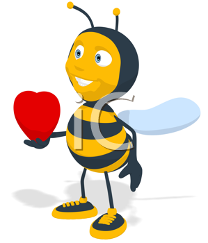 Royalty Free Clipart Image of a Bee With a Heart