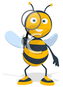 Royalty Free Clipart Image of a Bee With a Magnifying Glass