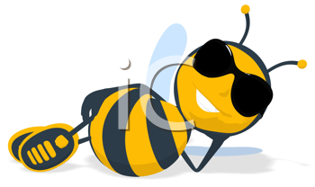 Royalty Free Clipart Image of a Bee Lying Down
