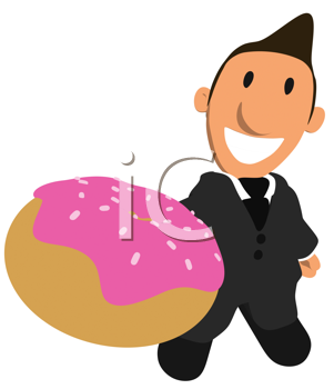 Royalty Free Clipart Image of a Guy With an Iced Doughnut