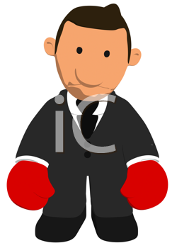 Royalty Free Clipart Image of a Sad Boxing Businessman
