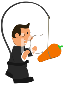 Royalty Free Clipart Image of a Businessman With a Carrot Hanging in Front of Him