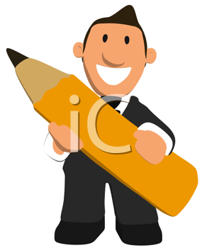 Royalty Free Clipart Image of a Man With a Pencil