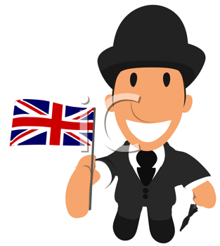 Royalty Free Clipart Image of a Man With a British Flag