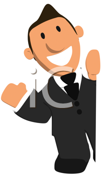 Royalty Free Clipart Image of a Waving Man in a Suit