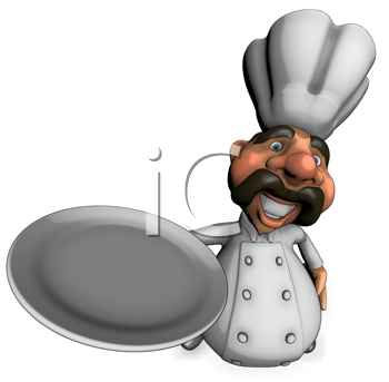 Royalty Free Clipart Image of a Chef With a Plate