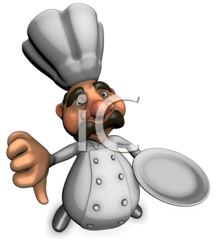 Royalty Free Clipart Image of a Chef Giving a Thumbs Down
