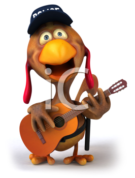 Royalty Free Clipart Image of a Guitarist Chicken Cop