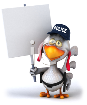 Royalty Free Clipart Image of a Police Chicken With a Placard
