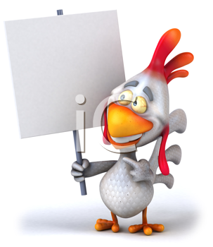 Royalty Free Clipart Image of a Chicken With a Placard