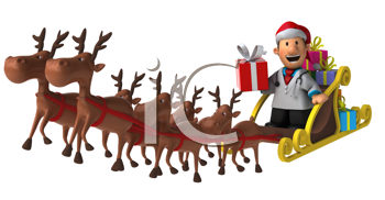 Royalty Free Clipart Image of a Guy in a Santa Hat Riding Santa's Sleigh