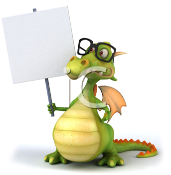 Royalty Free Clipart Image of a Dragon With a Sign
