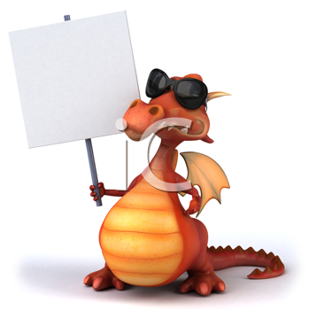 Royalty Free Clipart Image of a Dragon in Sunglasses With a Placard