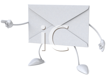 Royalty Free Clipart Image of an Envelope Pointing