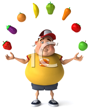 Royalty Free Clipart Image of an Overweight Man Juggling Healthy Food