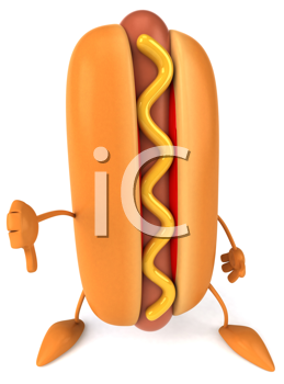 Royalty Free Clipart Image of a Hotdog Giving a Thumbs Down