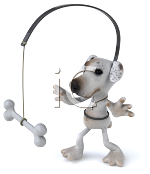 Royalty Free Clipart Image of a Jack Russell Terrier With a Bone in Front of It