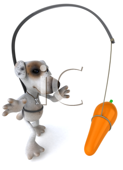Royalty Free Clipart Image of a Jack Russell With a Carrot in Front of Its Nose