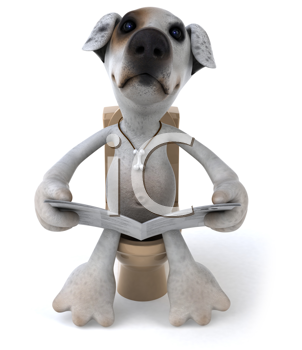 Royalty Free Clipart Image of a Jack Russell on the Toilet