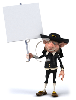 Royalty Free Clipart Image of Korrigan With a Sign