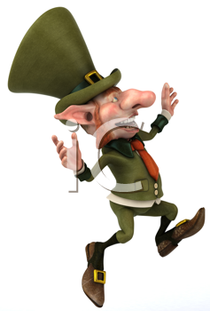 Royalty Free Clipart Image of a Happy Leprechaun