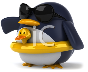 Royalty Free Clipart Image of a Penguin With a Rubber Ring