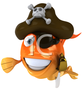 Royalty Free Clipart Image of a Goldfish Pirate