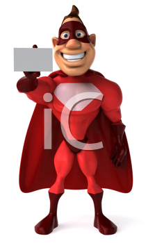 Royalty Free Clipart Image of a Superhero With a Card