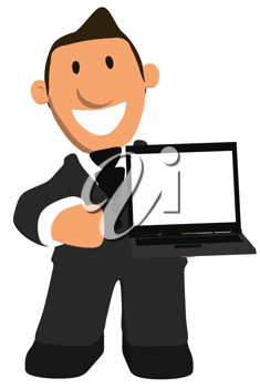 Royalty Free Clipart Image of a Businessman With A Laptop
