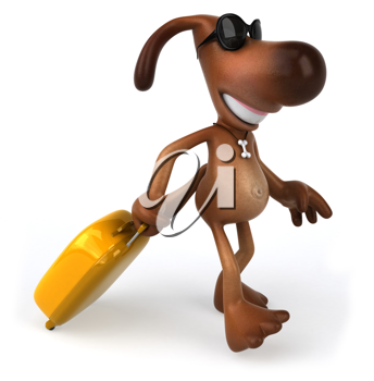 Royalty Free Clipart Image of a Dog Wearing Sunglasses Pulling a Suitcase
