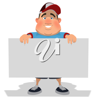 Royalty Free Clipart Image of an Overweight Man Holding a Sign